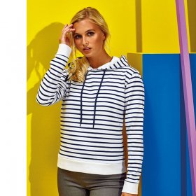 Ladies Fit Striped Hoodie (AQ076)