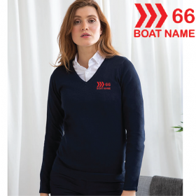 OW Embroidered Ladies 12 Gauge V-neck Jumper (HB721)