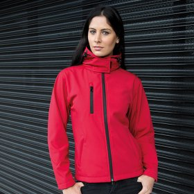 Ladies Hooded Softshell Jacket 3ply